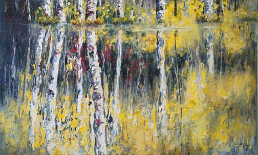 """Rhythm Reflections 36""""x60"""" - textured oil painting"""