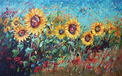 """Sunny Celebration 30""""x48"""" - textured oil painting"""