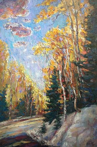 "Bend Ahead 24""x18""- textured oil painting"