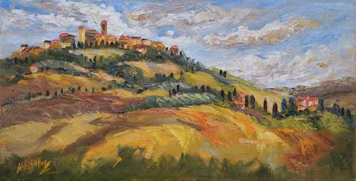 "Autumn in Pienza, Tuscany - 10"" x 20"" - textured oil on canvas"