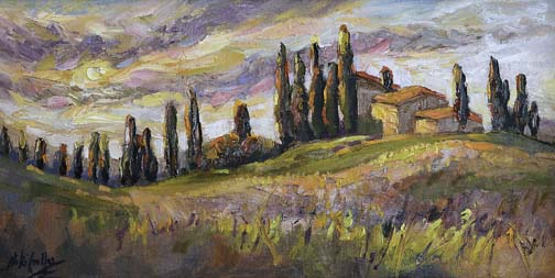 "Cypress Glory, Tuscany - 10"" x 20"" - textured oil painting"