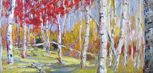 "Marching into Autumn II - 12""x24""- textured oil painting"