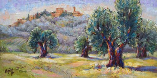 "Olive Grove, Tuscany - 10"" x 20"" - textured oil on canvas"