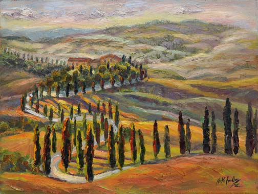 "Serpentine Drive, Tuscany - 12"" x 16"" - textured oil on canvas"