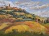"Autumn in Pienza, Tuscany - 10"" x 20"" - textured oil on canvas"