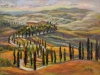 """Serpentine Drive, Tuscany - 12"""" x 16"""" - textured oil on canvas"""