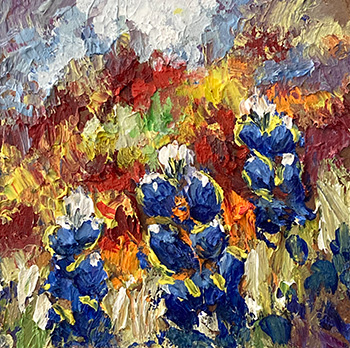 abstract floral, contemporary impressionist, daily painting, dallas texas artist, floral art, Niki Gulley paintings, bluebonnet painting, Texas wildflowers