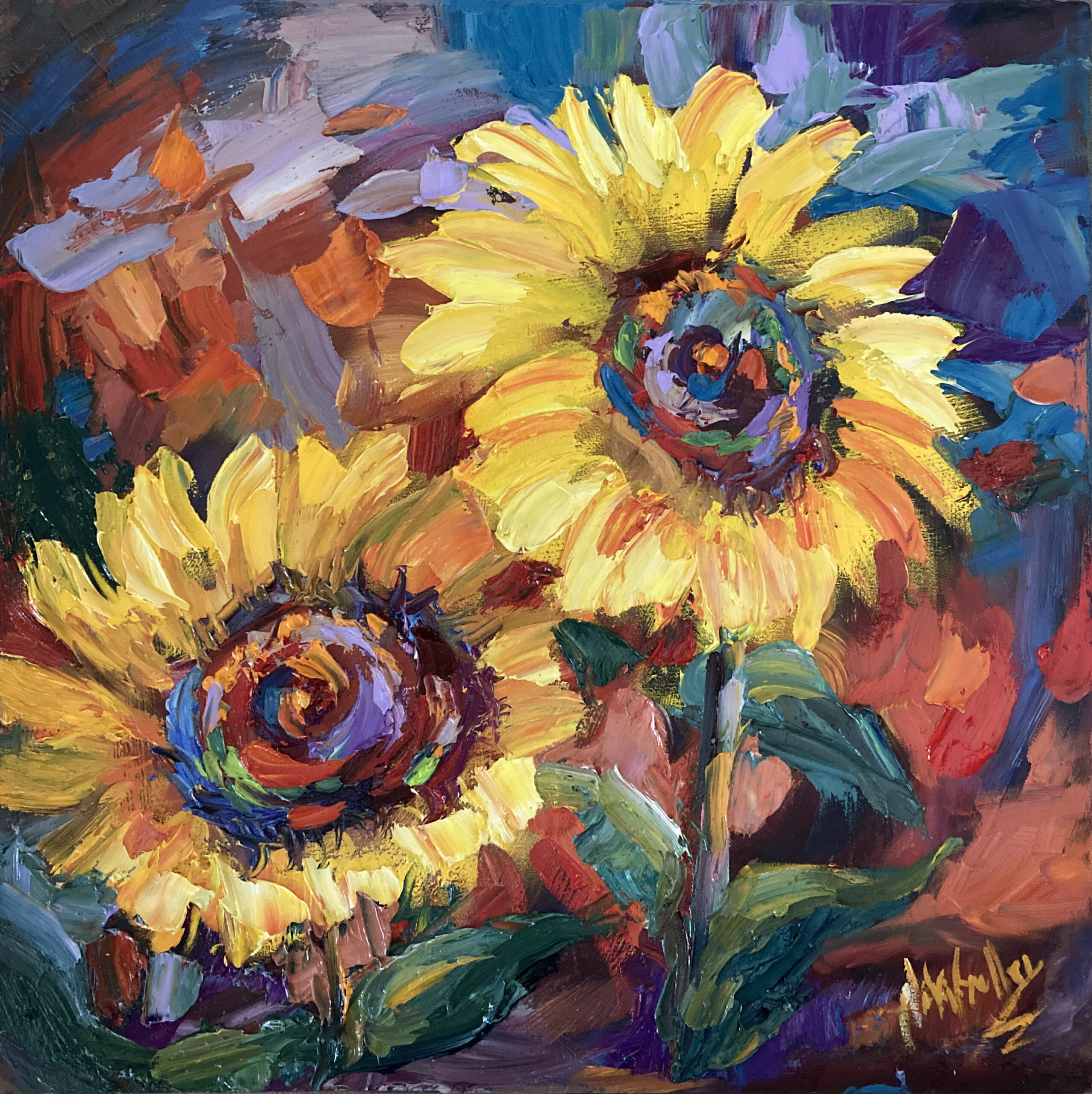 floral, sunflowers, contemporary impressionist, daily painting, dallas texas artist, floral art, Niki Gulley paintings,